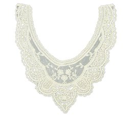 Wholesale Sewing Charms Wholesale - Wholesale- EAS-beige cotton flower cut-out lace collar charming sewing applique style 03