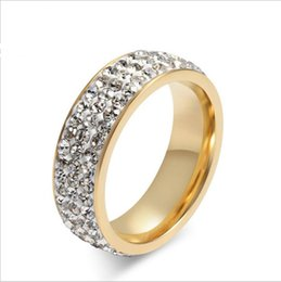 Wholesale Men Black Diamond Rings - new titanium steel jewelry diamond ring men and women Wedding ring Engagement Rings Gold Plated Jewelry Luxury Vintage Bague for Lady