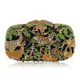 Wholesale Advance Accessories - New 2017 Dignity Advanced Animal Prints Rhinestones Luxury Handmade Diamonds Twist Lock Chain Clutches Bridal Accessories Bridal Hand Bags