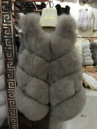 Wholesale Genuine Fox Fur Coat Jacket - Real Fox Fur Vest Women New Fashion Genuine Fox Fur Coat Gilet Jacket Winter Real Natural Fox Fur Coats Vest