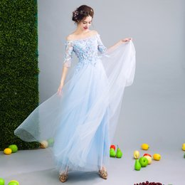 Wholesale Half Sleeved Long Prom Dress - SSYFashion 2017 New Luxury Banquet Long Evening Dress Light Blue Lace Flower with Beading Romantic Half Sleeved Prom Party Gowns