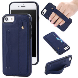 Wholesale Iphone Strap Holder - For iphone 7 6s Plus TPU Shockproof Leather Coating Hand Strap Holder Kickstand Card Slots Back Cover Case For iphone 6 5 SE