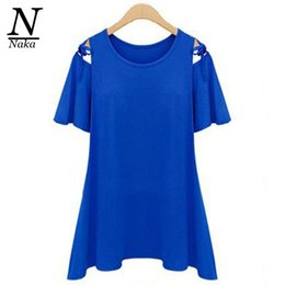 Wholesale Modal Clothing Wholesale - Wholesale-2016 4XL 3XL New Women Clothing Summer Casual Loose Hollow Out Bow Flare sleeve Modal Plus size T-shirt Tops Tee