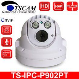 Wholesale Indoor Dome Camera Audio - TSCAM new SP-P902PT MINI PTZ Dome IP Camera HD 960P 1.3MP ONVIF Pan Tilt Micro SD TF Card Slot Audio Line P2P