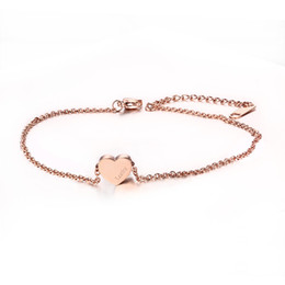 Wholesale Rose Gold Anklets - Adjustable Length Bracelet & Anklets Rose Gold Plated Stainless Steel Heart Love High Quality JC-002