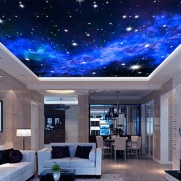 Wholesale wallpaper wood - Wholesale-Interior Ceiling 3D Milky Way Stars Wall Covering Custom Photo Mural Wallpaper Living Room Bedroom Sofa Background Wall Covering