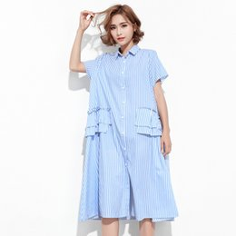 Wholesale Dress Korean Chiffon Fashion Woman - 2017 Korean summer fashion new lapel mid-length section loose large size short-sleeved lotus leaf dress women V07501