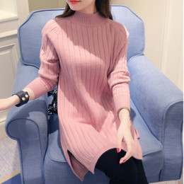 Wholesale High Neck Turtlenecks - Wholesale-Women Turtleneck Sweater Slit Dress 2016 Full Sleeve Knitting Pullovers Female Fall Winter Half High Neck Jumper Sweater Dress