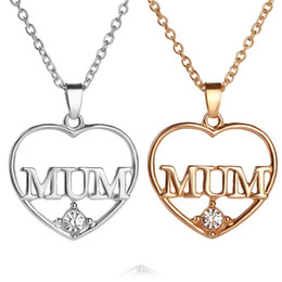 Wholesale Mum Necklaces - Crystal Heart Mum Necklace 18K Gold Plated Love Heart Pendants for Women Girls Best Friend Necklaces Mother's Day Gift jewelry 161171