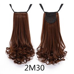 Wholesale Long Hair Wave Style - Wholesale- 2016 new arrive wave style fashion natural 5 colors long ponytail Drawstring Ribbon Hairpiece Clip In Pony Tail Hair Extensions