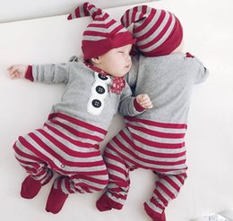Wholesale Hat Scarf Button - 0-1T Newborn Santa Rompers clothes Baby Boys Girls Scarf button stripe print Romper Hat set Christmas Long Sleeve cloth