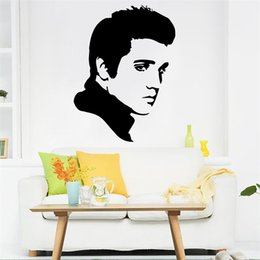 Wholesale Kids Rocking - 70x52cm Elvis Presley Portrait Rock Music Star Vinyl Wall Stickers Removable Art Mural for Home Decoration Kids' Bedroom