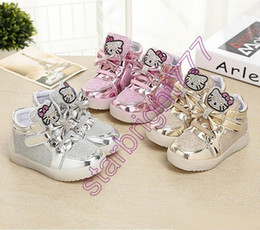 Wholesale Panda Children Shoes - 2017 Hot Sell children shoes LED light shoes KT cat panda