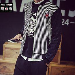 Wholesale Baseball Jacket Lined - Wholesale- Korean men skulls vertical stripe jacket with fleece lining cotton baseball hip hop jacket winter fashion coat