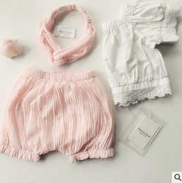 Wholesale Standard Natural Hair - Baby Kids shorts and hair band 2pc sets summer new baby girls ruffle shorts children falbala bloomers toddlers all-match pp pants T3624