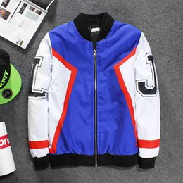Wholesale Long Pics - 2017 Newest blue pic J character painting hoodie cotton-padded lattice letter high quality exquisite craftsmanship jacket zipper sweatshirt