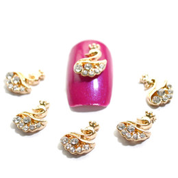 Wholesale Metal Nail Studs - Wholesale- 5pcs New 3d Swan Alloy Metal Nail Art Decorations Glitter Crystal Rhinestones DIY Nail Art Studs Beauty Accessories NJ054