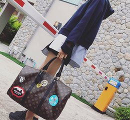 Wholesale Brown Leather Duffel Bag - Hot sell 2017 new style travel bags Suitcases Luggages oxidize real leather dufel bags keepalls 45 50 55