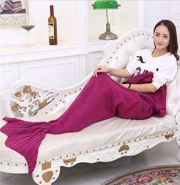 Wholesale Knit Queen Blanket - Mermaid Tail Blankets Mermaid Tail Sleeping Bags Cocoon Mattress Knit Sofa Blanket Handmade Living Room Sleeping Bag 10 Colors 4 size TA60-