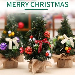 Wholesale Desktop Decorations - Mini Christmas Tree Small Tree Ornaments Christmas Tree 20cm Desktop Xmas Decorations 3 Colors Festival Supplies 0708102