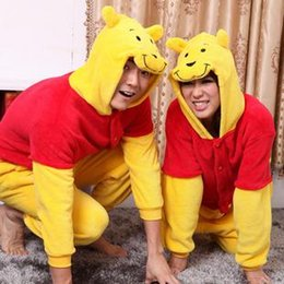 Wholesale Pooh Kigurumi Pajamas - Wholesale Lovely Winnie The Pooh New Kigurumi Pajamas Animal Cosplay Costume Unisex Stock Warm Bridal Undergarments