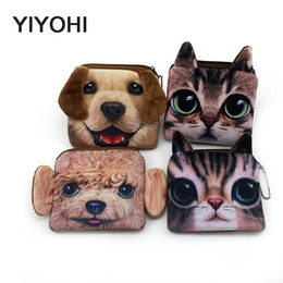 Wholesale Children Purse Sale - Wholesale- Hot Sale Aquare 3D Print Cute Cat  Dog Zipper Plush Coin Purse Kawaii Children Bag Women Wallets Mini Change Pouch Bolsa
