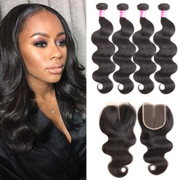 cheap extension hair Australia - Mink Brazilian Body Wave Hair Weaves 4 Bundles with Closure Remy Virgin Human Hair Extensions Soft Best Sale Cheap Daily Deals Wholesale