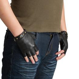 Wholesale Nappa Leather Men - Wholesale- Kursheuel Men Gloves Nappa Soft Suede Fingerless Leather Gloves Women Sheepskin Gloves Ku-082