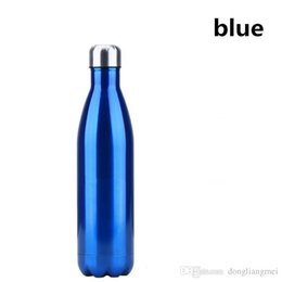 Wholesale Green Flasks - Colorful Stainless Steel Vacuum Bottles Thermos Flask Travel Sport 304 Stainless Steel Cups 350ml 500ml 750ml Free Shipping wn112