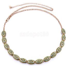 Wholesale Diamante Belts - Wholesale- Women Peacock Green Crystal Beaded Waist Chain Vantage Rhinestone Waistband Ethnic Diamante Belt Charms