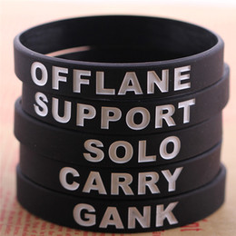 Wholesale Game Day Bracelet - European Fashion Sport Wristband DOTA 2 Game Black Silicone Bracelets Carry Gank Solo Support Offlane Bracelets