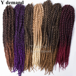"Wholesale 125g Hair Extensions - Havana Mambo Twist Crochet Braid Hair 22"" 125G Synthetic Weave 12Roots Pack Kanekalon Crochet Hair Y demand"