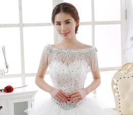 Wholesale Short Neck Chains - Luxury Rhinestone Beading Tassels Bridal Accessories Shoulder Chain 2018 New Bateau Neck Bridal Wraps For Wedding