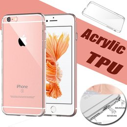 Wholesale Dustproof Plug Iphone - Acrylic Ultra Thin Slim Clear Case Hard Back TPU Soft Border Dustproof Plug 2 in 1 Protective Sleeve Cover For iPhone 8 7 Plus 6 6S SE 5S 5