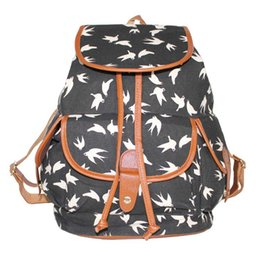 Wholesale United Backpacks - Europe and the United States wind -2017 fashion canvas printing swallow shoulder bag casual backpack