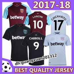 Wholesale West Home - Thai quality 2017 West Ham United away soccer jerseys 2017 2018 FEGHOULI CARROLL SAKHO AYEW West Ham United home football shirts
