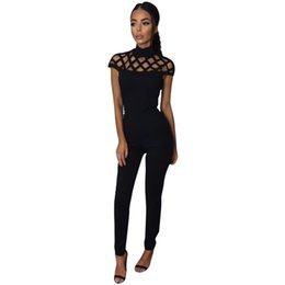 Wholesale Yellow Coverall - Wholesale- Rompers Women Jumpsuit Fashion Ladies Short Sleeve Jumpsuits For Women Coverall Black Full Length Turtleneck Jumpsuits LJ7429C