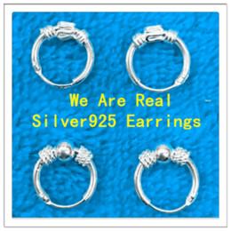 Wholesale Real Hoop Earrings - Wholesale- Mini Hoop Earrings Real 925 Sterling Silver Hoop Earrings for women girls baby Earring Size 10mm, 12mm SEH0008