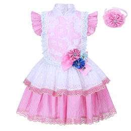 Wholesale Online Kids Dresses - Pettigirl 2018 Fashion Style Flower Girl Dresses Pink Lace Dress Kids Birthday Party Wear Clothing Dresses Online G-DMGD001-1302