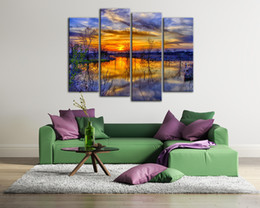 Wholesale Rivers Life - Modern 4 Piece Canvas Art Wall Decoration Sunset River Clouds Sky Plant Painting Custom Landscape Decor Picture Digital Printing for Room
