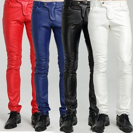 Wholesale Men Blue Leather Pants - Wholesale-Winter Fleece Lined Sexy Tight Blue White Red Motorcycle Leather Pants Men Black Skinny Biker Trouser PU Leather Jogger For Men