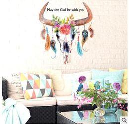 sfondo per il divano Sconti Animale testa di bue di mucca Piuma Rimovibile Wall Sticker casa decorativo soggiorno divano sfondo adesivo 447