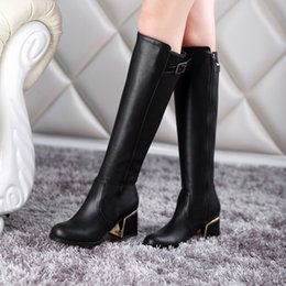 Wholesale Red Thick Heels Boots - Wholesale-New autumn and winter women boots 2016 thick heel knee high long boots female botas feminina ladies motorcycle boots size 34-48