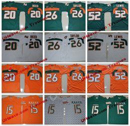 Wholesale Blue Ed - 2017 Miami Hurricanes College Jerseys 15 Brad Kaaya 26 Sean Taylor 52 Ray Lewis 20 Ed Reed Stitched Jersey