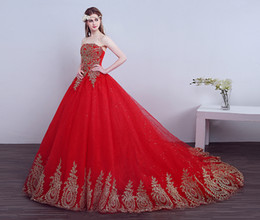 Wholesale Tulle Strapless Ball Gown China - 2017 New Ball Gown Lace Tulle Red Wedding Dress with tail Chinese Pattern Style Cheap China Embroidery Bridal Gown