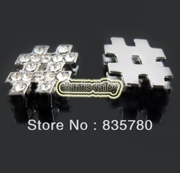 "Wholesale Symbol 8mm Slide Charm - charm diy 50PCS 8MM Inserted Rhinestone ""#"" Symbol Slide Charms DIY Accessory Fit 8mm Wristband Pet Dog Collars Strips Keychain"