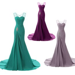 Wholesale One Shoulder Long Eveing Dresses - Beaded Eveing Prom Dresses Mother Of Bride Dress Rhinestone Ball Gown Sequin Beading A line Formal Gray Green Blue Pink Purple Colors Dress