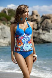 Wholesale Sexy High Waist Clothes - 2017 new Professional Sexy Plus Size Swimwear For Women's Floral Push Up High Waist Long Sleeves Swimsuit Clothes Beach Bathing for women