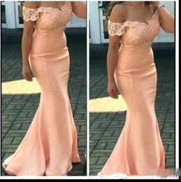 Wholesale Formal Dresses Short Sleeves - 2018 New Cheap Bridesmaid Dresses For Weddings Peach Cap Sleeves Lace Appliques Mermaid Floor Length Formal Maid of Honor Gowns Plus Size