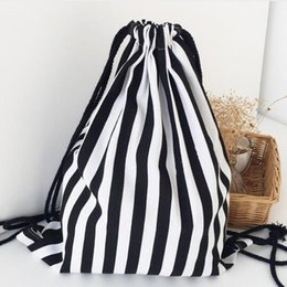 Wholesale Black Cotton Drawstring Bag - Women's Black White Stripes Prints Shoulder Bags Canvas Drawstring Backpacks Strap Student Backpacks Cottom Material Top Quality Wholesale